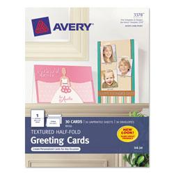 Avery Textured Half-Fold Greeting Cards, Inkjet, 5 1/2 x 8.5, Wht, 30/Bx w/Envelopes