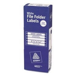 Avery Dot Matrix Printer Permanent File Folder Labels, 0.44 x 3.5, White, 5,000/Box