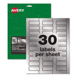 Avery PermaTrack Metallic Asset Tag Labels, Laser Printers, 0.75 x 2, Metallic Silver, 30/Sheet, 8 Sheets/Pack
