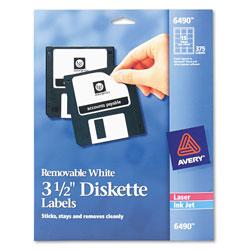 Avery Laser/Inkjet 3.5 in Diskette Labels, White, 375/Pack