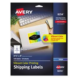Avery Vibrant Inkjet Color-Print Labels w/ Sure Feed, 3 1/3 x 4, Matte White, 120/PK