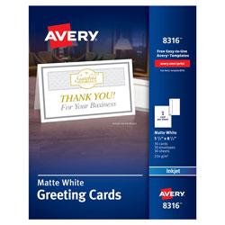 Avery Half-Fold Greeting Cards, Inkjet, 5 1/2 x 8.5, Matte White, 30/Box w/Envelopes