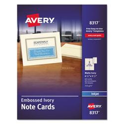 Avery Embossed Note Cards, Inkjet, 4 1/4 x 5 1/2, Matte Ivory, 60/Pk w/Envelopes