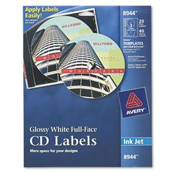 Avery Inkjet Full-Face CD Labels, Glossy White, 20/Pack