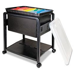 Advantus Folding Mobile File Cart, 14.5w x 18.5d x 21.75h, Clear/Black