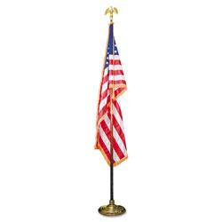 Advantus Deluxe 3 ft x 5 ft U.S. Flag, 8 ft Oak Staff, 2 in Gold Fringe, 7 in Goldtone Eagle