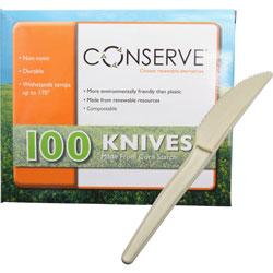 Baumgarten's 10233 White Corn Starch Plastic Knives