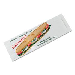 Bagcraft Submarine Sandwich Bags, 4 1/2 x 2 x 14, White Preprinted Submarine