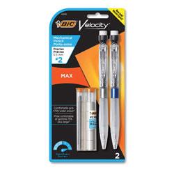 Bic Velocity Max Pencil, 0.5 mm, HB (#2), Black Lead, Gray Barrel, 2/Pack