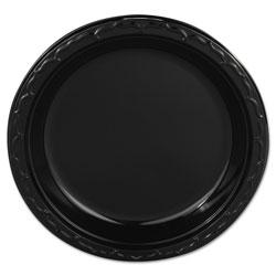 Genpak Silhouette Plastic Plates, 9 in Black, 400/Carton