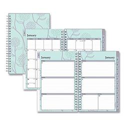 Blue Sky Rue Du Flore Weekly/Monthly Wirebound Planner, 8 x 5, Green/Lavender, 2021