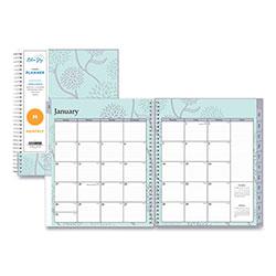 Blue Sky Rue Du Flore Monthly Wirebound Planner, 10 x 8, Green/Lavender, 2021