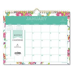 Blue Sky Day Designer Wirebound Wall Calendar, 11 x 8.75, White Floral, 2021