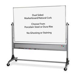 Balt Mobile Reversible Board, 6' x 4', Porcelain, Cork, Platinum