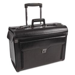 Bond Street Catalog Case on Wheels, Leather, 19 x 9 x 15-1/2, Black