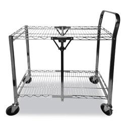 Bostitch® Stowaway Folding Carts, 2 Shelves, 35w x 37.25d x 22h, Black, 250 lb Capacity