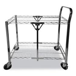 Bostitch® Stowaway Folding Carts, 2 Shelves, 35w x 37.25d x 22h, Chrome, 250 lb Capacity