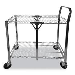 Bostitch® Stowaway Folding Carts, 2 Shelves, 29.63w x 37.25d x 18h, Black, 250 lb Capacity