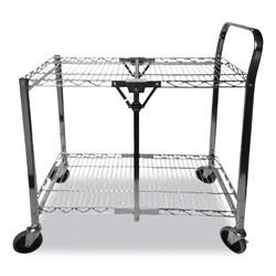 Bostitch® Stowaway Folding Carts, 2 Shelves, 29.63w x 37.25d x 18h, Chrome, 250 lb Capacity