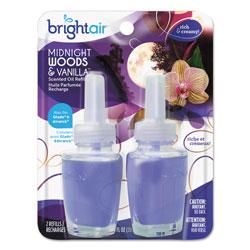 Bright Air Electric Scented Oil Air Freshener Refill, Midnight Woods/Vanilla, 0.67 oz Jar, 2/Pack, 6 Packs/Carton