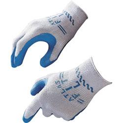 Best Manufacturers Safety Gloves, Natural Rubber, Medium, 12PR/BX, Blue/Gray