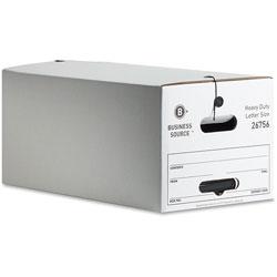 Business Source Storage Box, Medium-duty, Letter, White/Black