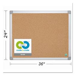 MasterVision™ Earth Cork Board, 24 x 36, Aluminum Frame