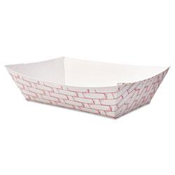 Boardwalk Paper Food Baskets, 2lb Capacity, Red/White, 1000/Carton