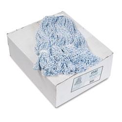 Boardwalk Mop Head, Floor Finish, Narrow, Rayon/Polyester, Medium, White/Blue, 12/Carton