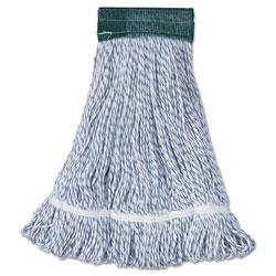 Boardwalk Mop Head, Floor Finish, Wide, Rayon/Polyester, Medium, White/Blue, 12/Carton