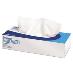 Boardwalk Office Packs Facial Tissue, 2-Ply, White, Flat Box, 100 Sheets/Box, 30 Boxes/Carton