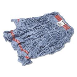 Rubbermaid Swinger Loop Wet Mop Heads, Cotton/Synthetic, Blue, Large, 6/Carton