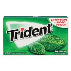 Trident® Sugar-Free Gum, Spearmint, 14 Sticks/Pack, 12 Packs/Box