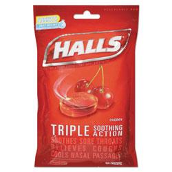 Halls Triple Action Cough Drops, Cherry, 30/Bag, 12 Bags/Box