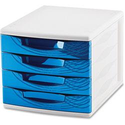 CEP 4-Drawer Module, 11-4/5 in x 14-1/2 in x 10-2/5 in, Blue