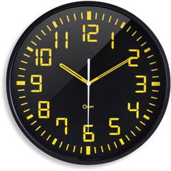 CEP Clock, Quartz, Contrasting, 11-4/5 inWx1-1/5 inLx11-4/5 inH, Black/Yellow
