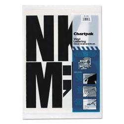 Chartpak/Pickett Press-On Vinyl Uppercase Letters, Self Adhesive, Black, 6 inh, 38/Pack