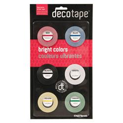 Chartpak/Pickett Deco Bright Decorative Tape, 0.13 in x 27 ft, Assorted Colors, 6/Box