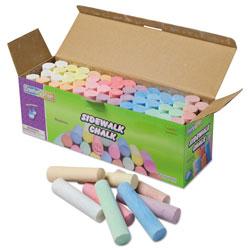 Chenille Kraft Sidewalk Chalk, 4 x 1 Dia. Jumbo Stick, 12 Assorted Colors, 52/Set
