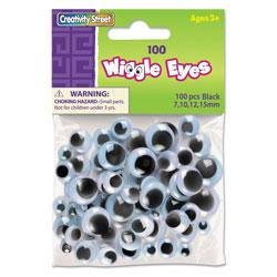 Chenille Kraft Wiggle Eyes Assortment, Assorted Sizes, Black, 100/Pack
