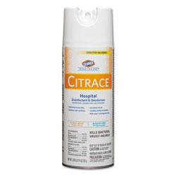 Clorox Citrace Hospital Disinfectant & Deodorizer, Citrus, 14oz Aerosol, 12/Carton