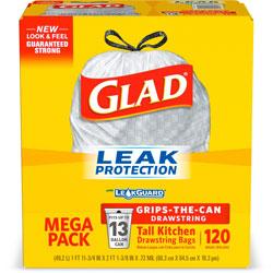 Glad Tall Kitchen Bags, w/Drawstring, 13 Gallon, 9mil