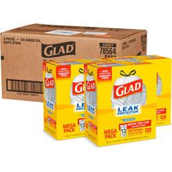 Glad Kitchen Bags, Tall, w/Drawstring, 13Gal, 9mil, 120/BX, 360/CT, White