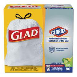 Glad OdorShield Tall Kitchen Drawstring Bags, 13 gal, 0.95 mil, 24 in x 27.38 in, White, 80/Box