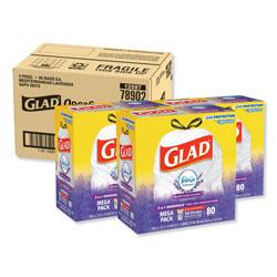 Glad OdorShield Tall Kitchen Drawstring Bags, 13 gal, 0.95 mil, 24 in x 27.38 in, White, 240/Carton