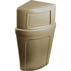 Continental Round Plastic Indoor Trash Can, 21 Gallon, Beige