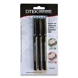 Controltek DTEK Counterfeit Detector Pens, Black, 3/Pack