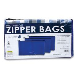 Controltek Multipurpose Zipper Bags, 11 x 6, Vinyl, Blue, 3/Pack
