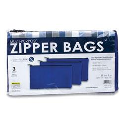 Controltek Fabric Deposit Bag, 5.5 x 11, Vinyl, Blue, 3/Pack
