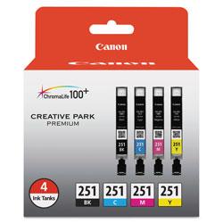 Canon 6513B004 (CLI-251) ChromaLife100+ Ink, Black/Cyan/Magenta/Yellow, 4/PK